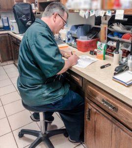 Dr. Hiss hard at work